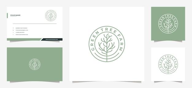 Logotipo de árbol moderno y tarjeta de visita.
