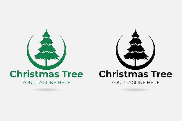 Logotipo de árbol de navidad vector premium
