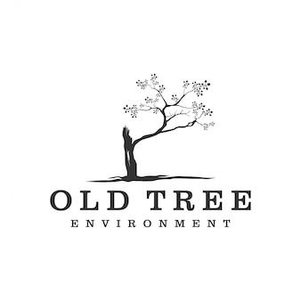 Logotipo de árbol viejo diseño de logotipo minimalista simple
