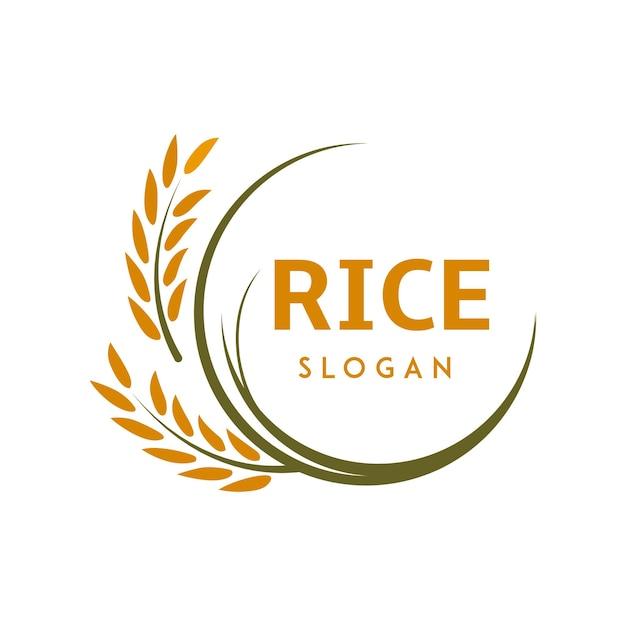 Logotipo de arroz con líneas circulares nítidas