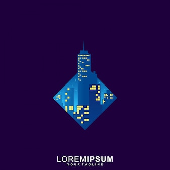 Logotipo de art triangle city premium