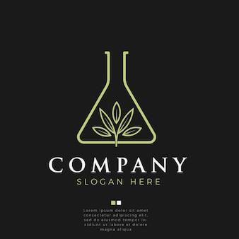 Logotipo de arte de laboratorio de hoja de marihuana