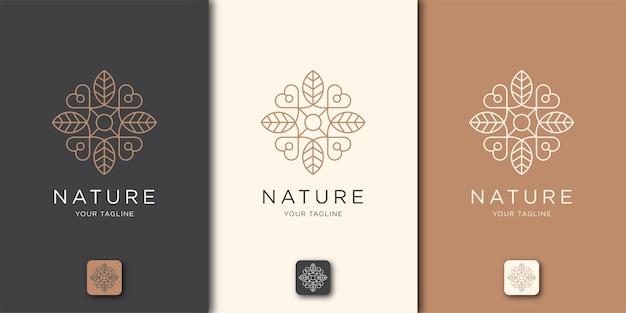 Logotipo de arte de línea de amor de hoja. logo para salón de spa, piel, belleza, boutique, natural, hoja, árbol y cosmética