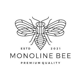 Logotipo de arte de línea de contorno de línea de abeja monoline