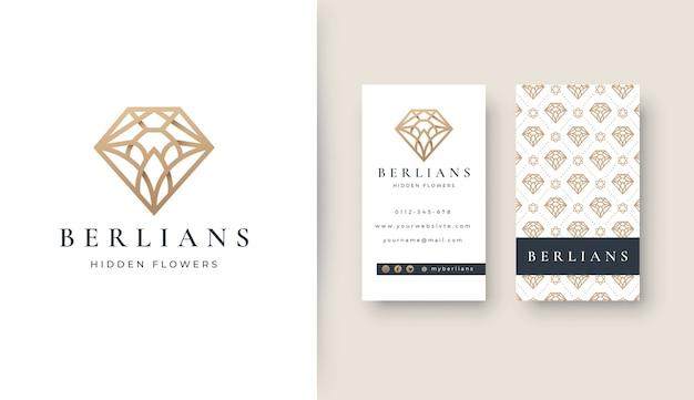 Logotipo de arte de línea de diamante de lujo con tarjeta de visita