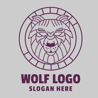 Logotipo de arte de línea de lobo