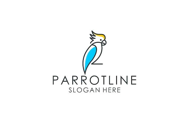 Logotipo de arte de línea de loro