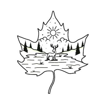 Logotipo de arte de línea de paisaje