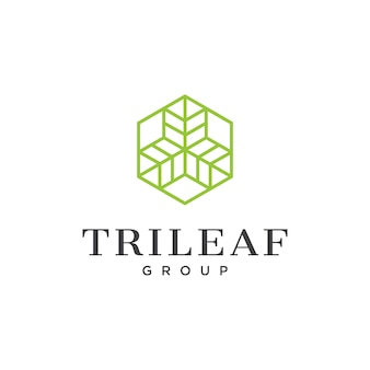 Logotipo de arte lineal con tres hojas