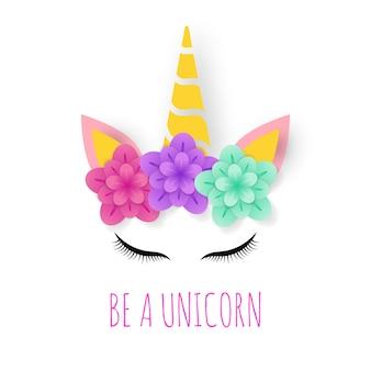 Logotipo de arte de papel de unicornio
