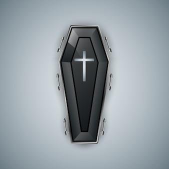 Logotipo del ataúd en el fondo gris