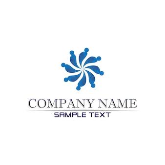 Logotipo de atención comunitaria personas en concepto de vector de círculo