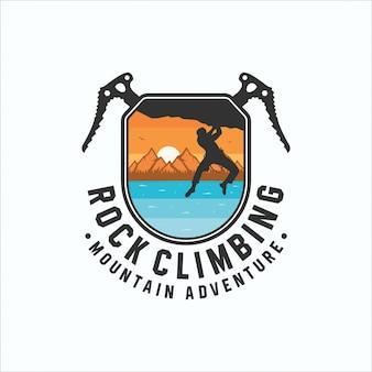 Logotipo de aventura de escalada en montaña