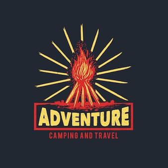 Logotipo de aventura de fuego de campamento dibujado a mano