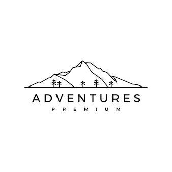 Logotipo de aventura de madera de pino de montaña