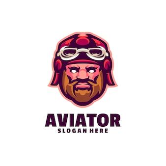 Logotipo de aviador aislado en blanco