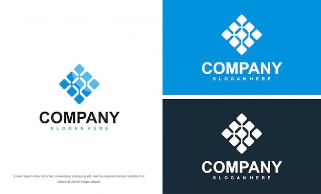 Logotipo azul abstracto de negocios