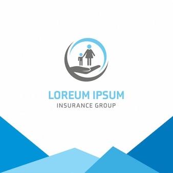 Logotipo azul, seguros, familia