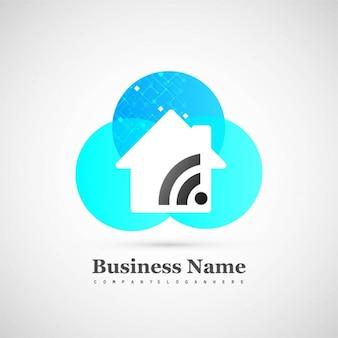 Logotipo azul tecnológico con una casa y wifi