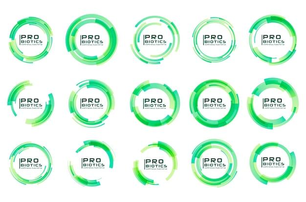Logotipo de bacterias probióticos. prebiótico, lactobacillus. médico