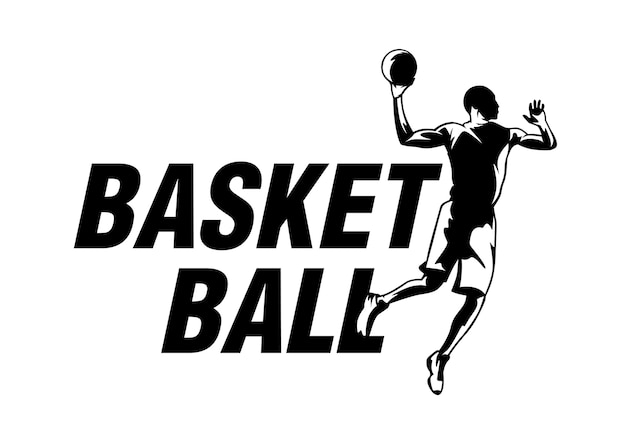 Logotipo de baloncesto moderno en estilo blanco negro