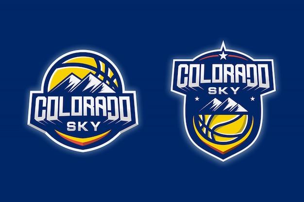 Logotipo de baloncesto de sky colorado