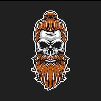 Logotipo de la barba del cráneo