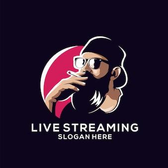 Logotipo de barba para transmisión en vivo