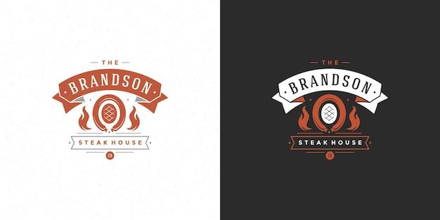 Logotipo de barbacoa casa de parrilla o restaurante de barbacoa