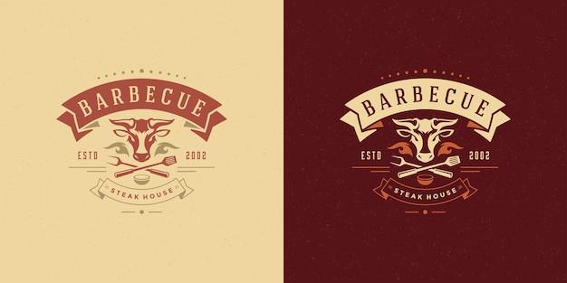 Logotipo de barbacoa parrilla steak house o restaurante de barbacoa