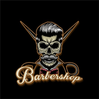 Logotipo de barbería de calavera con mascota de ilustración de calavera