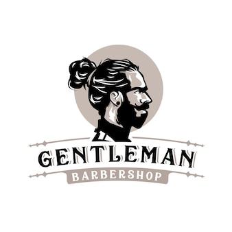 Logotipo de barbería retro vintage caballero