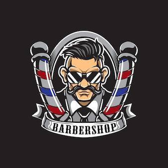 Logotipo de barbería y tarjeta de visita