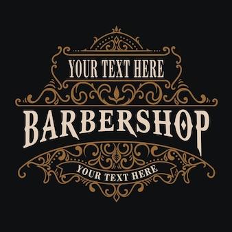 Logotipo de barbería vintage con estilo de adorno floral