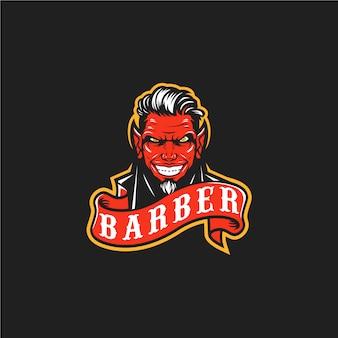 Logotipo de barbero demonio