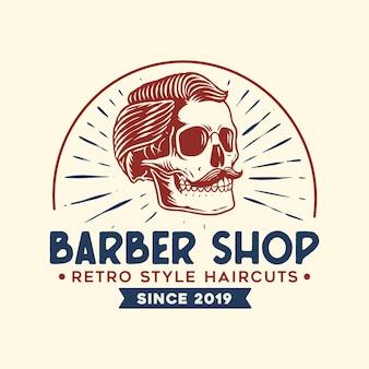 Logotipo de barbero con estilo vintage
