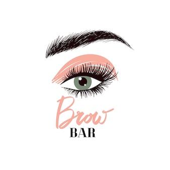 Logotipo de barra de pestañas y cejas rotulación de cosmetología y maquillaje profesional para salón de belleza
