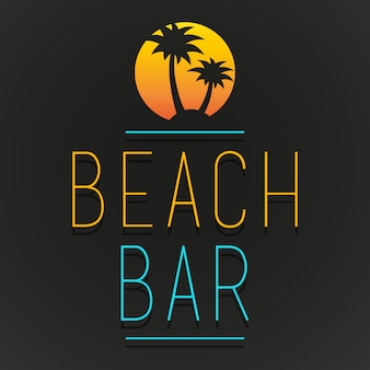 Logotipo de beach bar tree palm beach