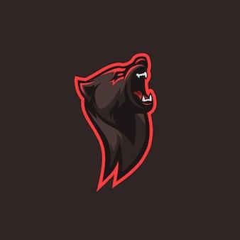 Logotipo de bear illlustration para escuadrón de juegos