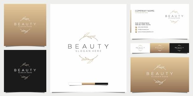 Logotipo de belleza con adornos botánicos con plantilla de tarjeta de visita