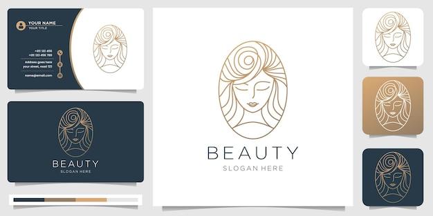 Logotipo de belleza de cabello y tarjeta de visita.