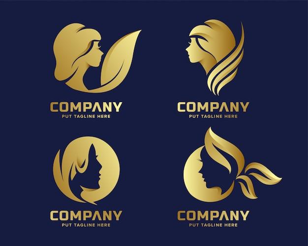 Logotipo de belleza elegante dorado premium