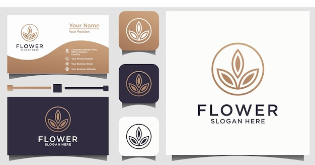 Logotipo de belleza de flor abstracta símbolo creativo universal. elegante signo de vector de boutique joya