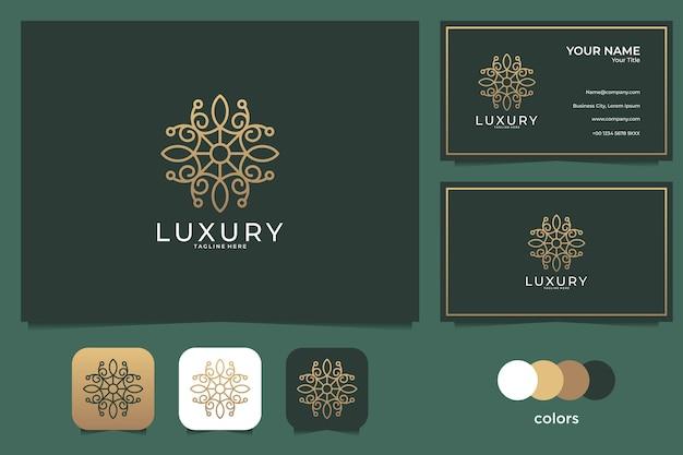 Logotipo de belleza de lujo y tarjeta de visita.
