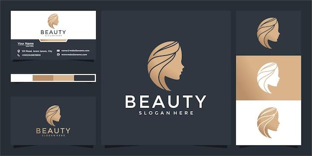 Logotipo de belleza para mujer con concepto moderno y diseño de tarjeta de visita.