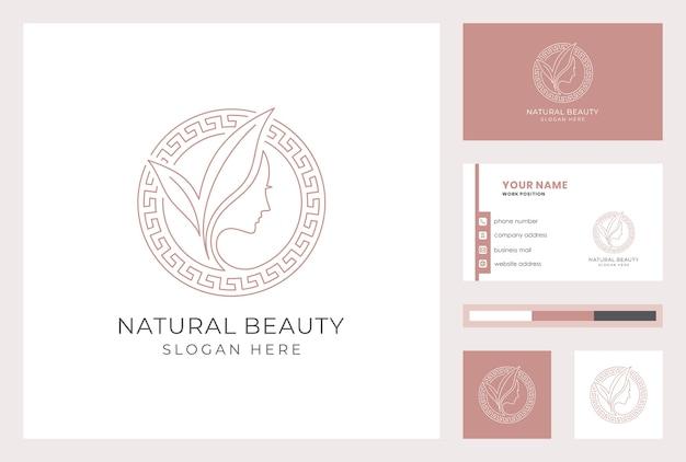 Logotipo de belleza natural con plantilla de tarjeta de visita.