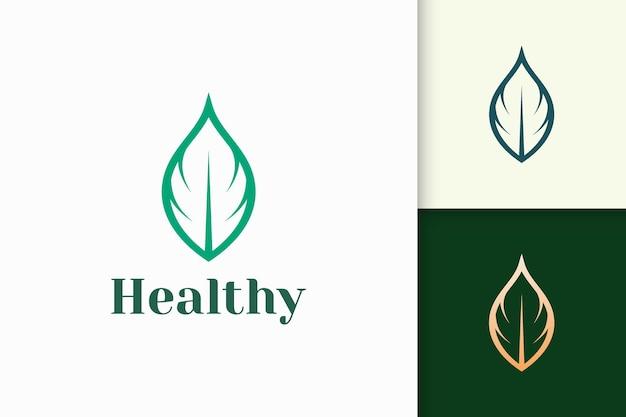 Logotipo de belleza o salud en forma de hoja simple