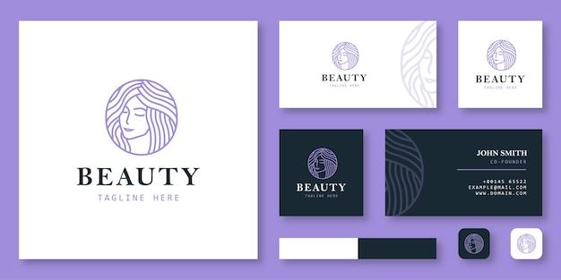 Logotipo de belleza con plantilla de tarjeta de visita