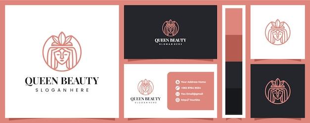 Logotipo de belleza de reina de lujo con plantilla de tarjeta de visita