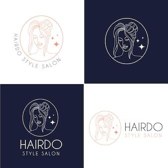 Logotipo de belleza de salón de peinado